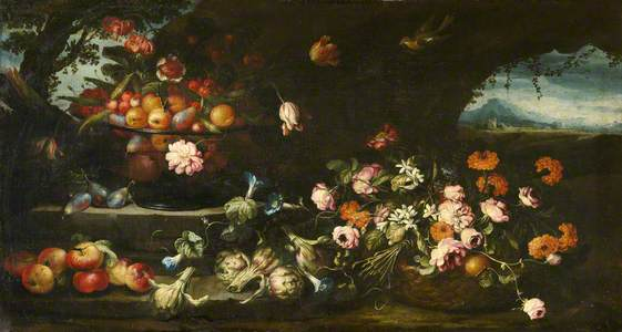 Still Life with a Bowl of Flowers in a Basket and a Distant Landscape