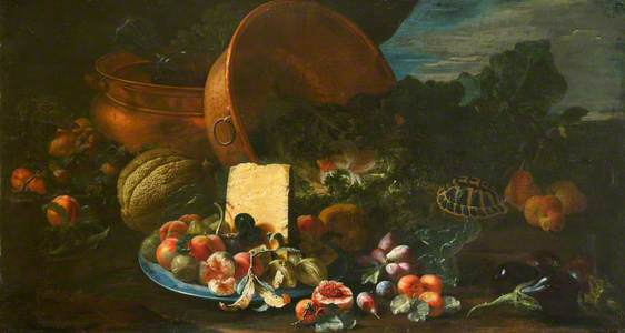 Still Life with Copper Pots, Melon, Tortoise and a Wedge of Cheese