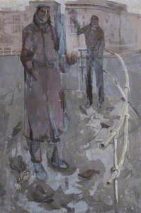 Two Men in Street Scene with Pigeons