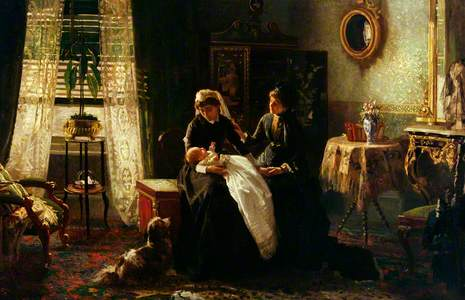 A Domestic Interior with Two Women Wearing Black, One Holding a Baby