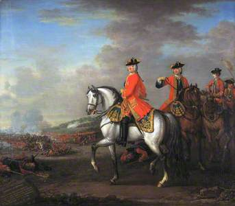 King George II at the Battle of Dettingen, with the Duke of Cumberland and Robert, 4th Earl of Holde