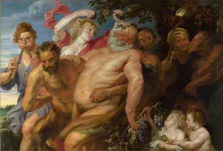 Drunken Silenus supported by Satyrs