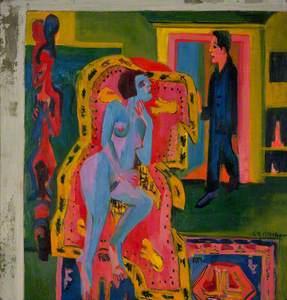 Interieur mit nackter Liegender und Mann (Interior with Nude Woman and Man)