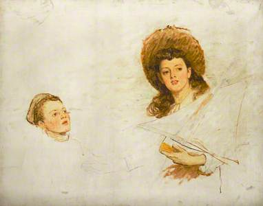 Study of the Artist's Daughter Hilda Orchardson (b.1875) and One of her Younger Brothers