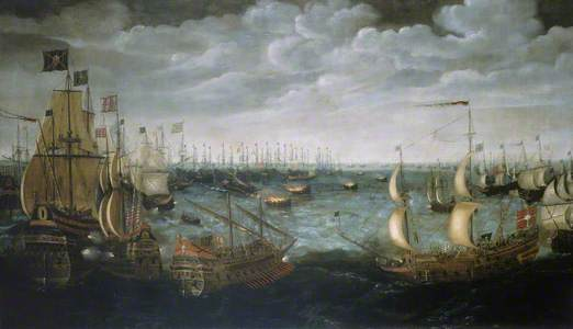 Launch of Fire Ships against the Spanish Armada, 7 August 1588