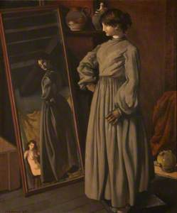 Lady Looking at Her Reflection in a Mirror with a Nude in the Background