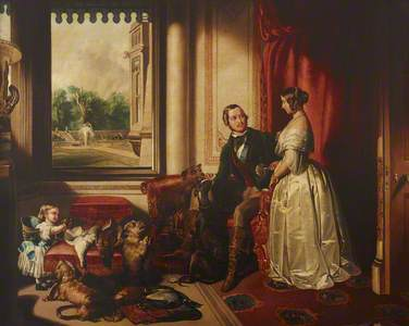 'Windsor Castle in Modern Times' : Queen Victoria, Prince Albert and Victoria, the Princess Royal (a