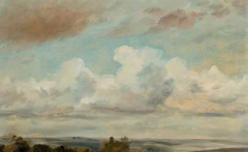 Cumulus Clouds Over a Landscape