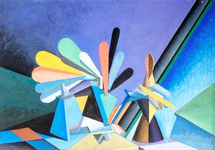 Abstract Still Life Composition with Fan Tail Shapes