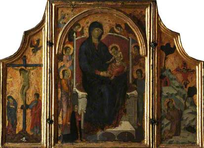 Triptych: The Virgin and Child Enthroned, Six Angels and a Donor; Crucifixion (Left Wing); St Franci