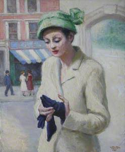 Lady in White Suit with Blue Gloves