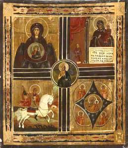 Icon (quadripartate) :  The Virgin Znamenie, the Virgin Reliever of Sorrows, Saint George, the Virgi
