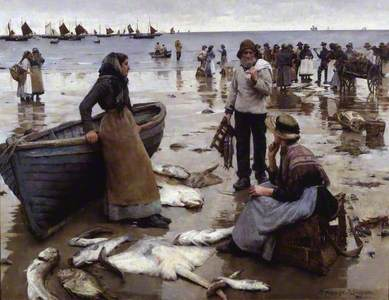 A Fish Sale on a Cornish Beach