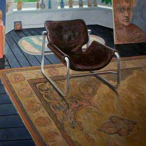 Leather Chair with a painting of Marion