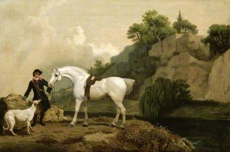 A Grey Hunter with a Groom and a Greyhound at Creswell Crags