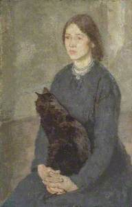 Young Woman Holding a Black Cat