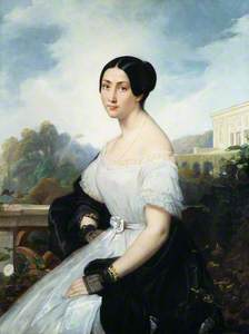 Giulia Grisi (seated on a balcony with an Italianate landscape to the rear)