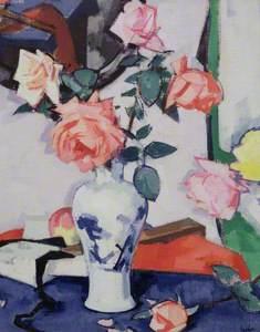A Vase of Pink Roses