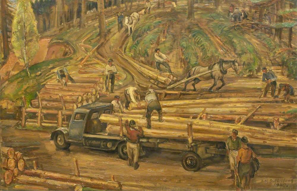 The Loading, Landings, Newfoundland Lumberjacks at Work in Scottish Forest