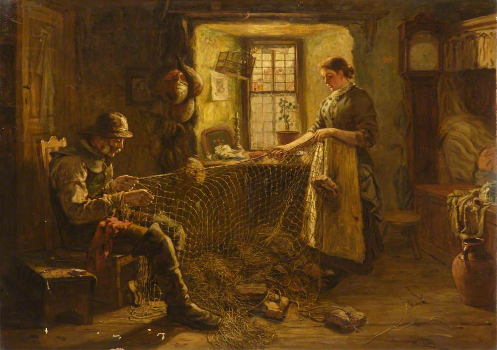 The Fisherman's Cottage (Mending the Old Salmon Net)