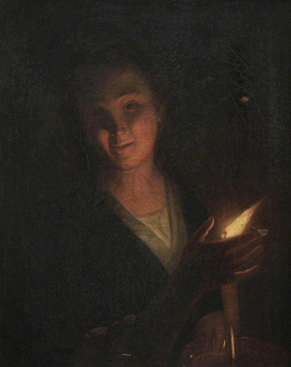 Girl Shielding the Flame on a Candlestick