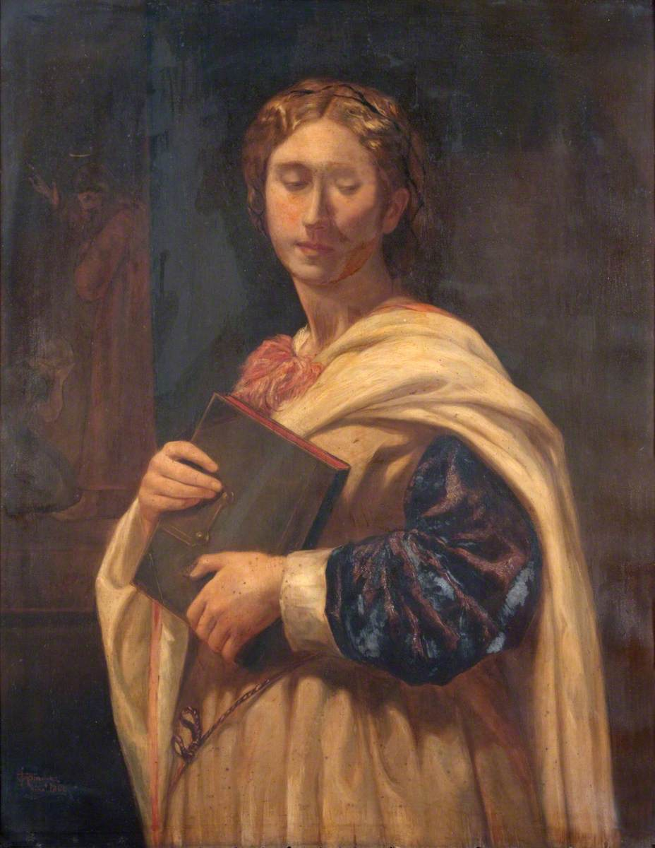 A Girl Standing Holding a Book