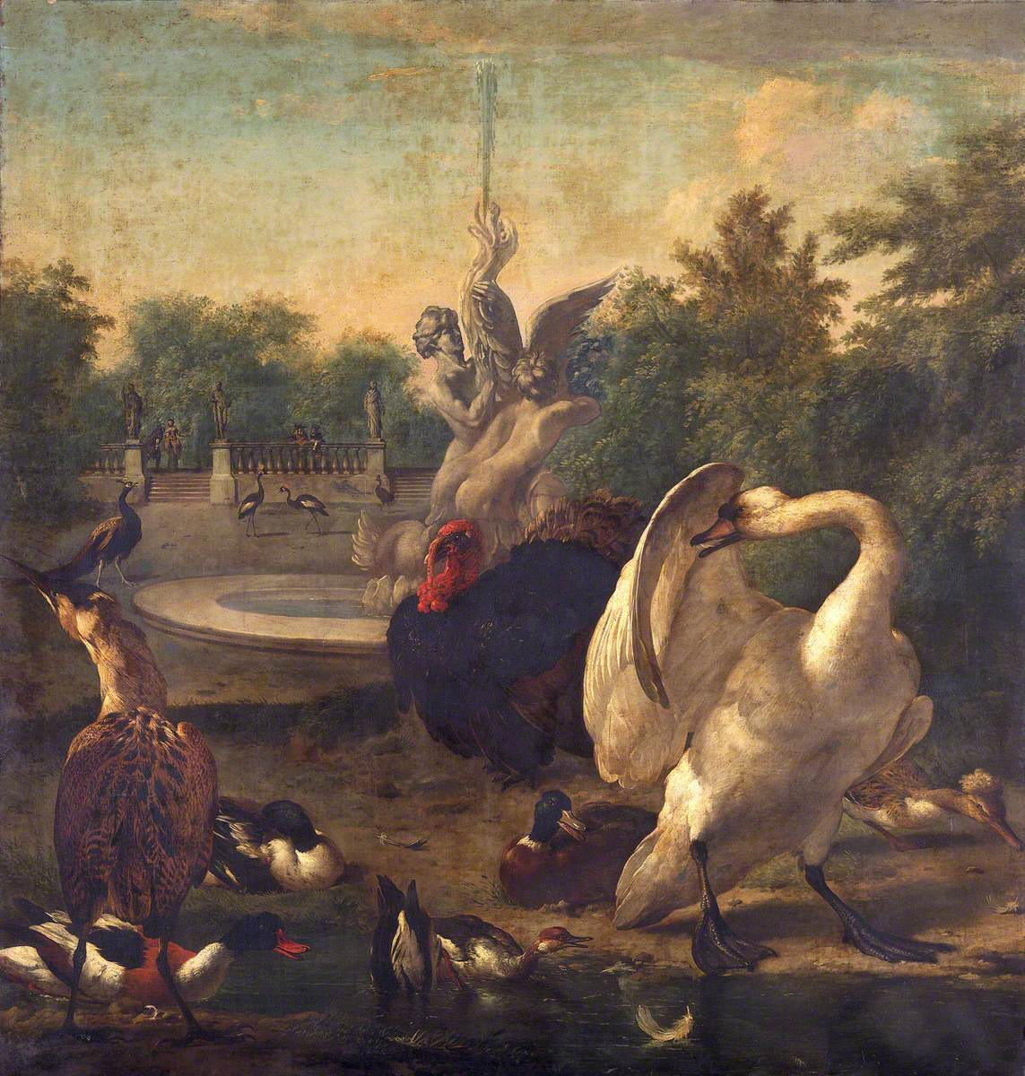A Park with a Swan and Other Birds