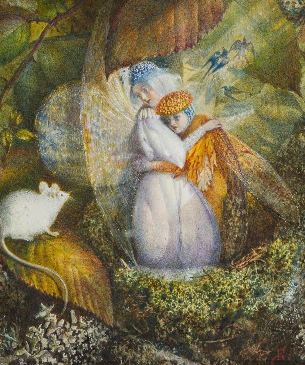 Fairy Lovers in a Bird's Nest Watching a White Mouse