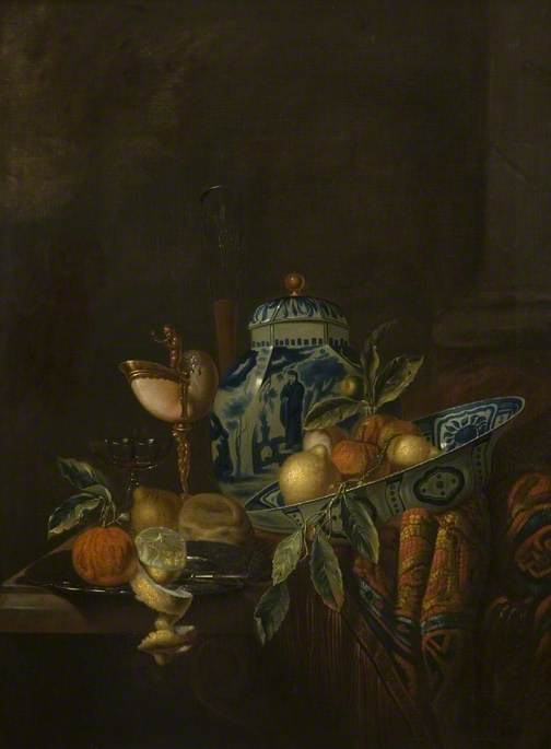 Still Life with Fruit and Blue and White China