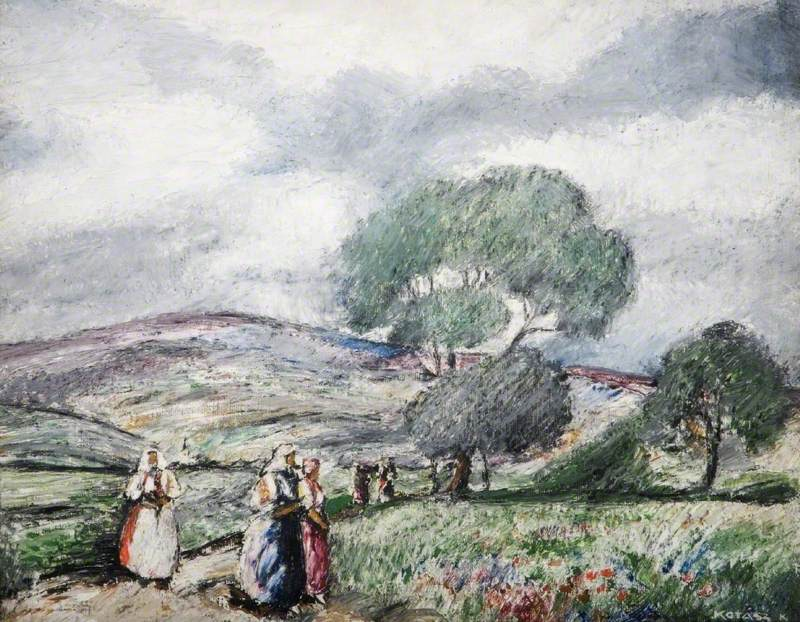 Stormy Landscape with Blue and Red Figures