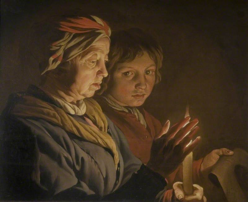 An Old Woman and a Boy by Candlelight