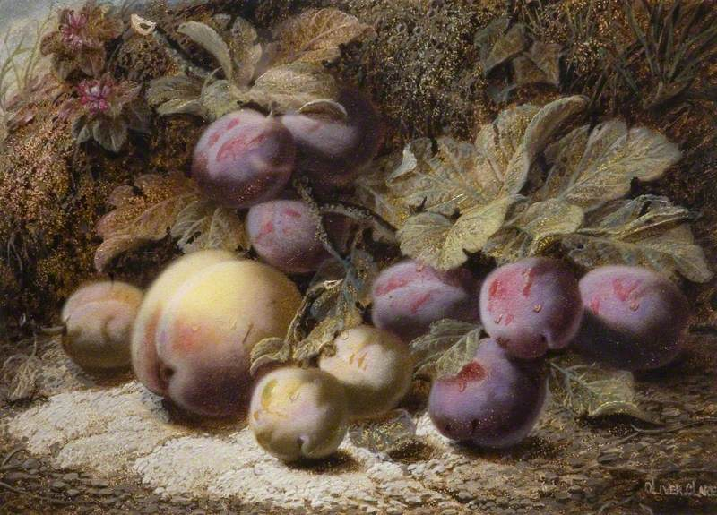 Still Life with Peach and Plums
