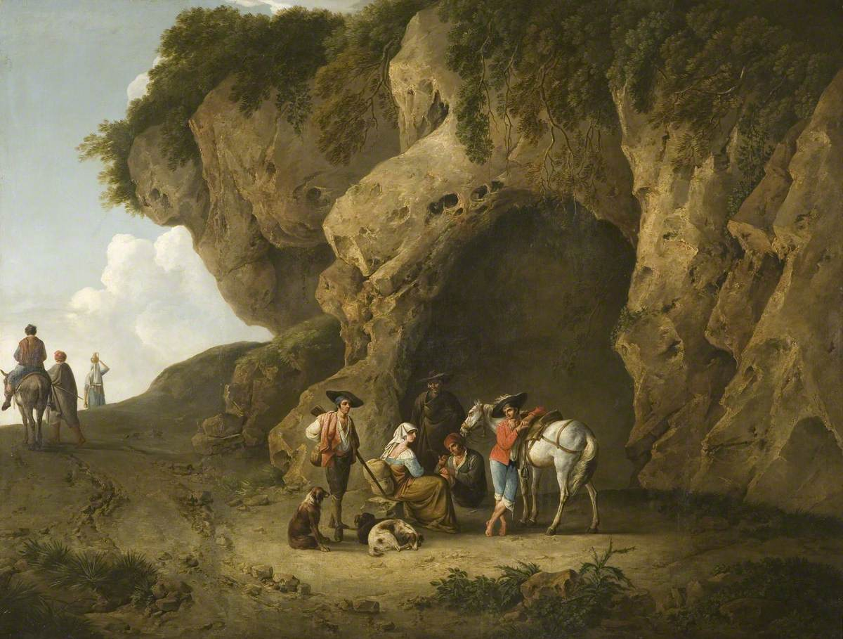 Cavern Scene near Subiaco, with Figures