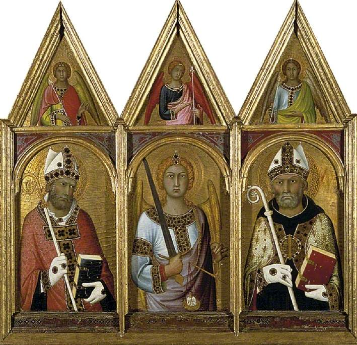 St Geminianus, St Michael and St Augustine, Each with an Angel above