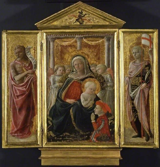 Virgin and Child (centre), Saint John the Baptist (left) Saint George or Saint Ansanus (right)