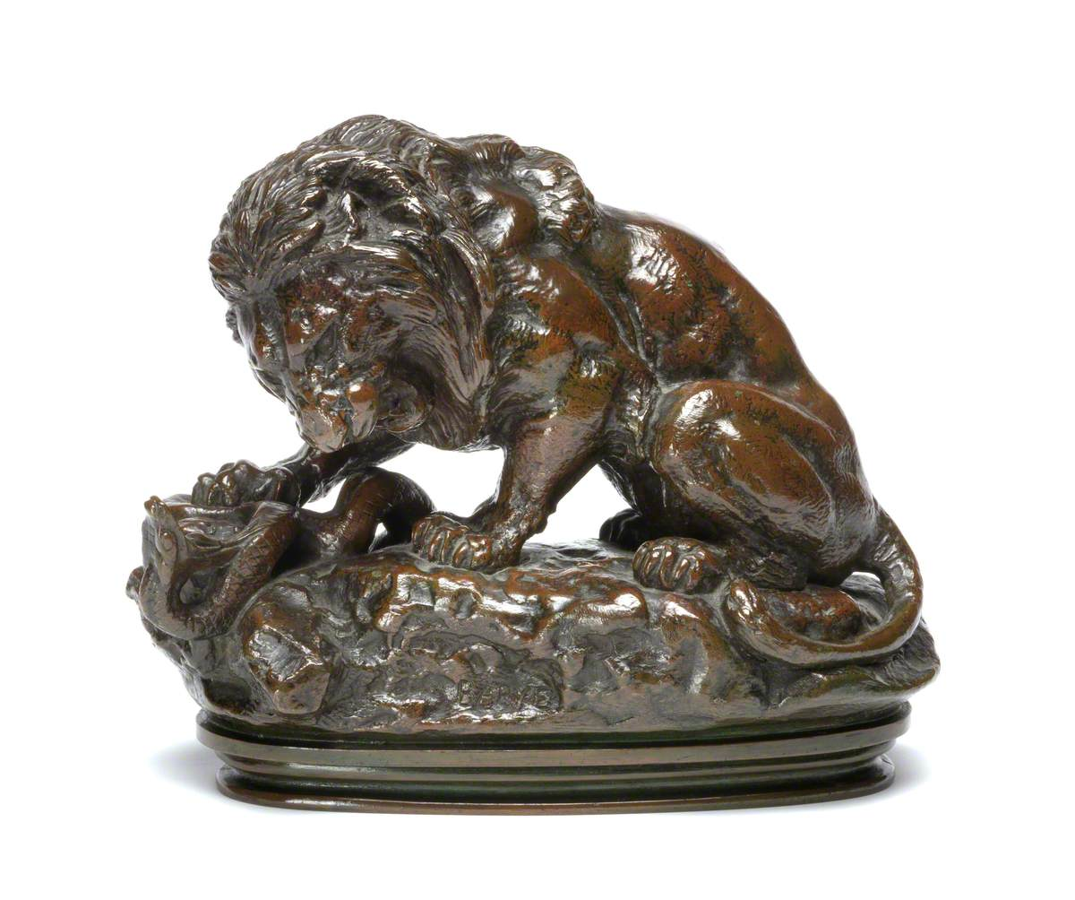 A Lion Crushing a Serpent