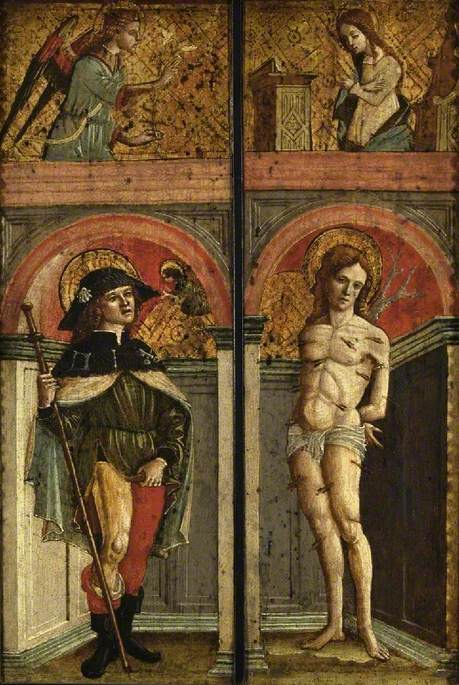 Saint Roch with the Angel of the Annunciation Above (left panel), Saint Sebastian with the Virgin Annunciate Above (right panel)