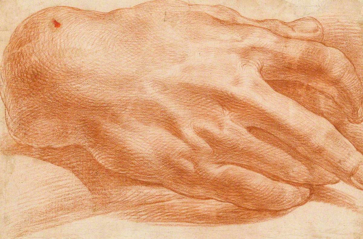 Study of the Back of a Hand with a Staff
