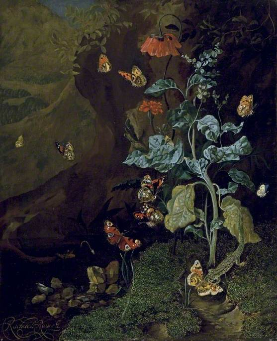 A Still Life with Flowers, Butterflies and a Lizard in a Dell