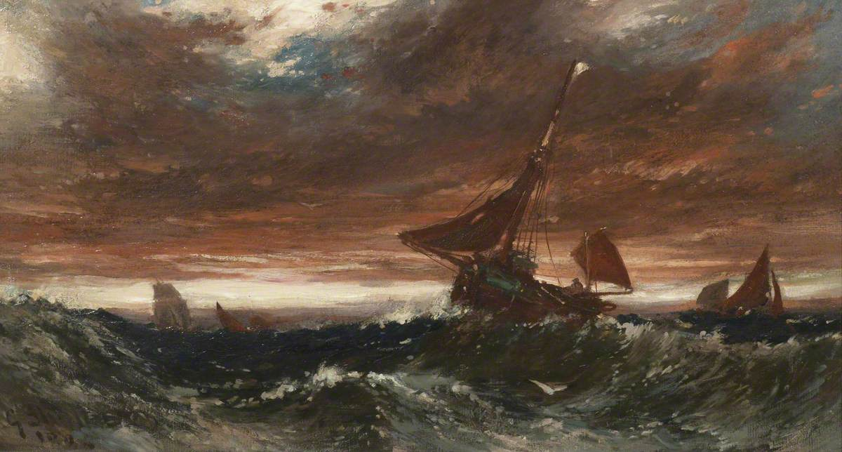 Fishing Smacks and Sailing Ships on a Stormy Sea