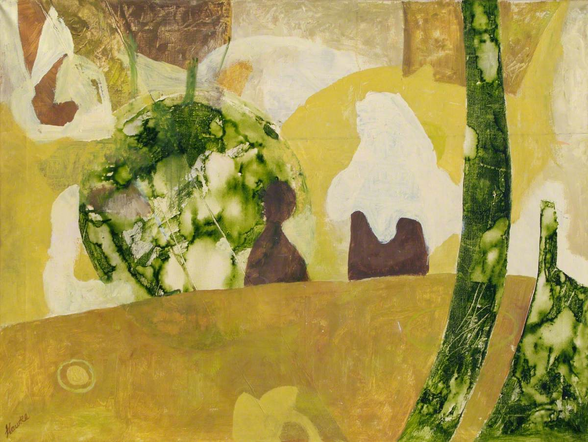 Green and Ochre Abstract