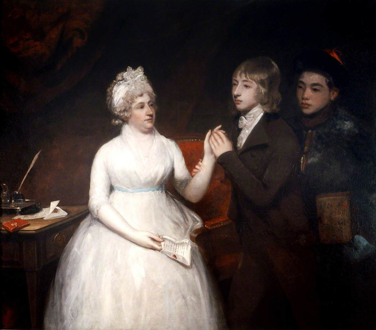Lady Staunton with Her Son George Thomas Staunton and a Chinese Servant
