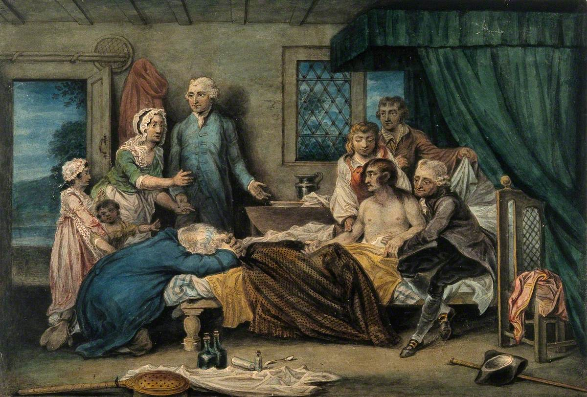 A Man Recuperating in Bed at a Receiving-House of the Royal Humane Society, after Resuscitation by W. Hawes and J. C. Lettsom from Near Drowning