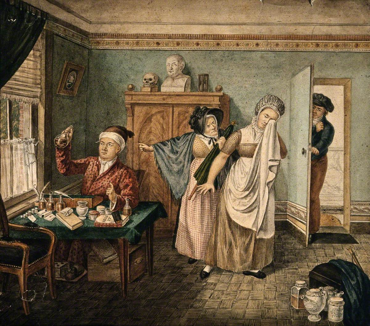 A Physician Examining a Urine Specimen in Which a Faint Figure of a Baby Is Visible, a Female Patient Is Crying and Being Shouted at by Her Angry Mother, Indicating that She Is Pregnant