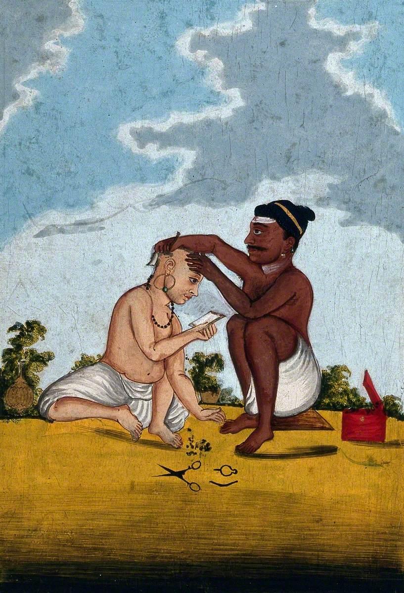 A Malabar Barber Cutting a Customer's Hair