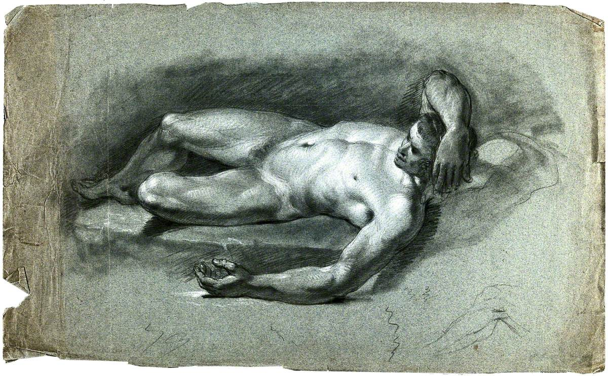 A Reclining Male Nude with His Right Arm Resting on His Head and a Faint Sketch of a Leg