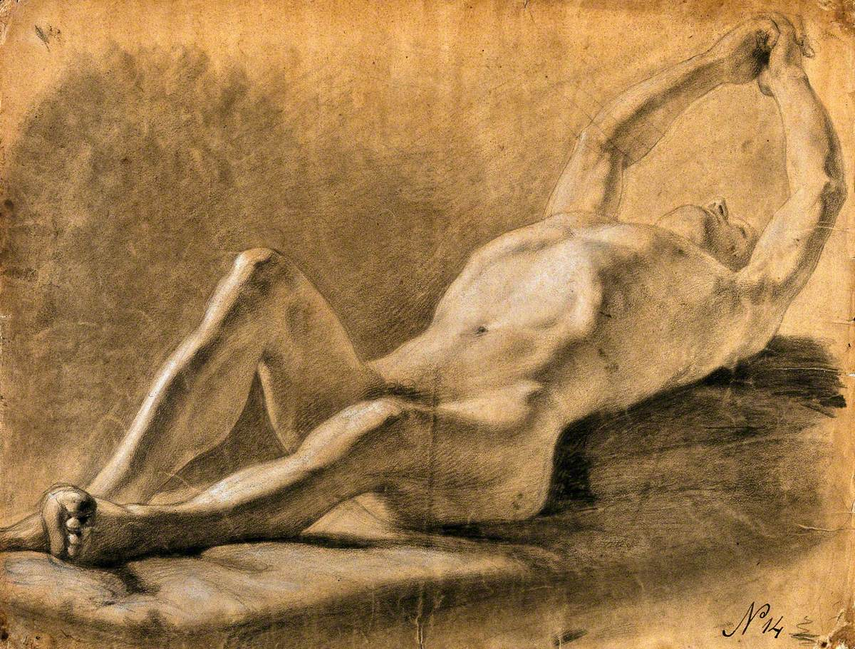 A Reclining Male Nude Clasping His Hands above His Head