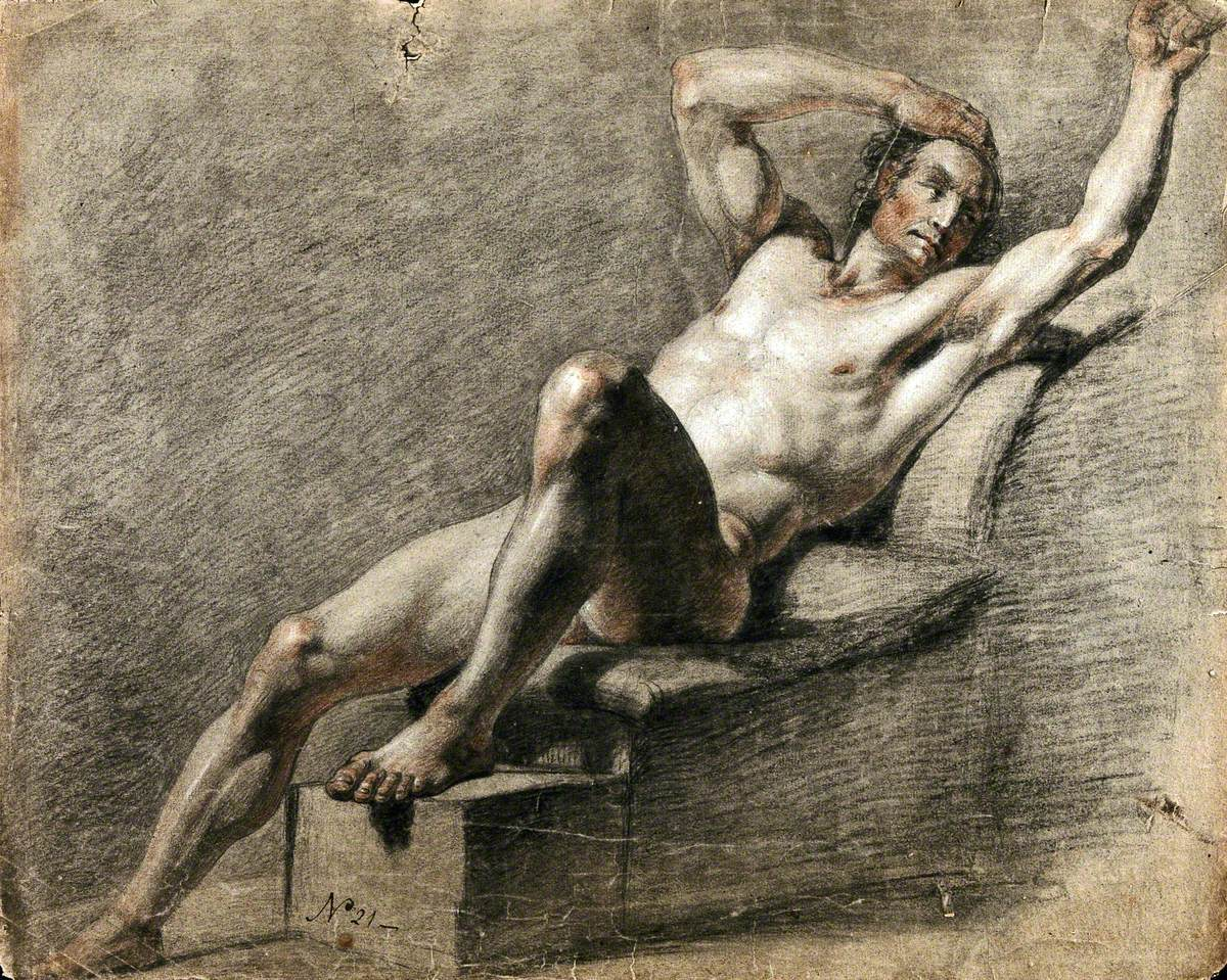 A Reclining Male Nude with His Right Arm Resting on His Head and His Left Arm Raised