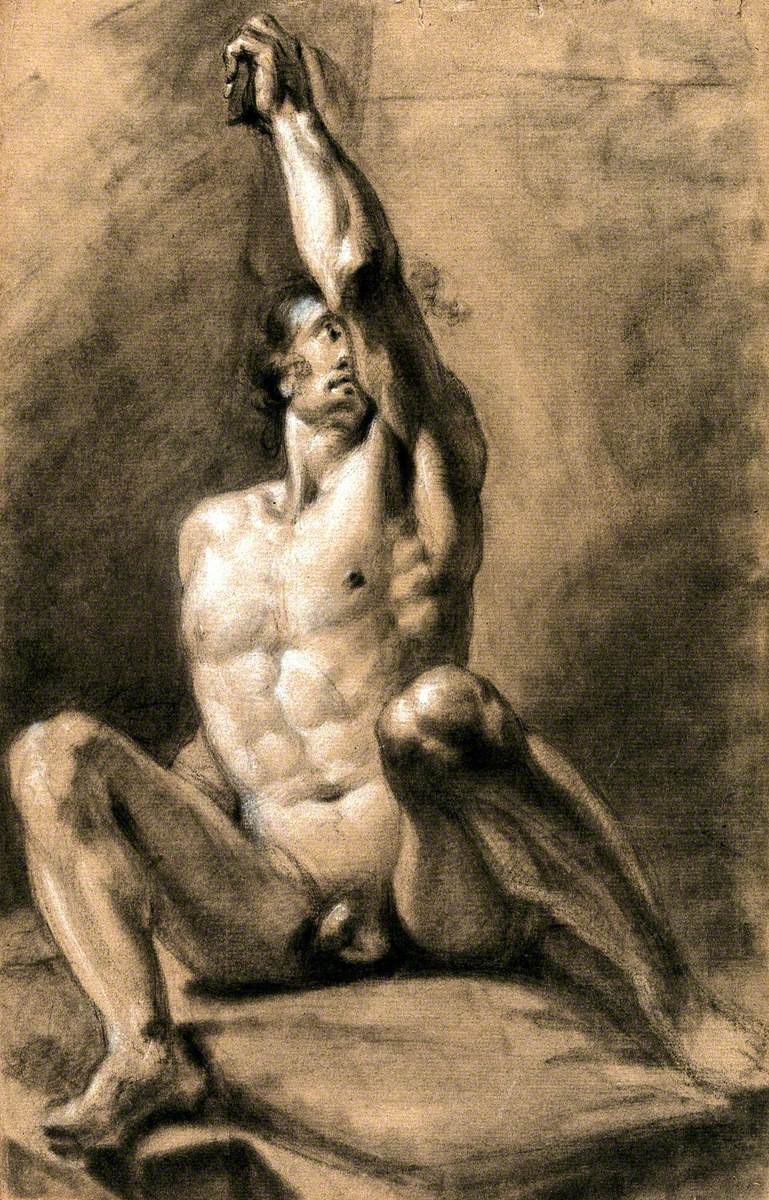 A Seated Male Nude with His Left Arm Raised
