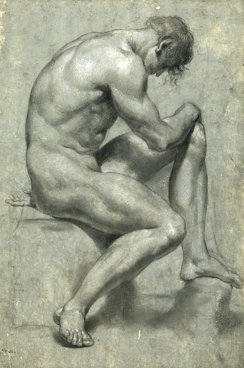 A Seated Male Nude with His Head Bowed
